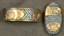 Basket-weave and shells fuchi-kashira, silver, hallmarked