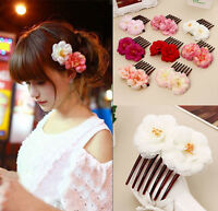 Double Silk Rose Flower Hair Comb Hair Clips Pins Wedding Bridal Party Beachy