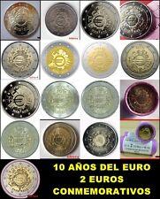 2 EURO CONMEMORATIVOS DIEZ AÑOS DEL EURO 2012 - TODOS LOS PAISES