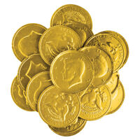 "Gourmet GOLD FOIL CHOCOLATE CANDY KENNEDY COINS 1.5""- 1/4 LB to 10 LB Bags BULK"