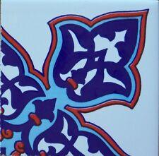 "White, Red & Blue Floral 4""x4"" (10cm x 10cm) Turkish Ceramic Tile Border CORNER"