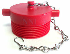 """2-1/2"""" NST Male Fire Hose Hydrant Adapter Plug with Chain- Red Poly Plastic"""