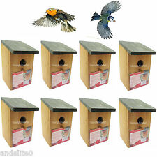 8 Wooden Nesting Box Bird House small birds Blue tit Robin sparrow 3cm Hole