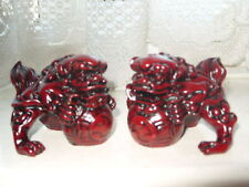 FENG SHUI ROSEWOOD COLOURED FU DOGS / TEMPLE LIONS SMALL