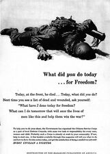 Frederic Stanley Today He Died At The Front WHAT DID YOU DO FOR FREEDOM 1943 Ad