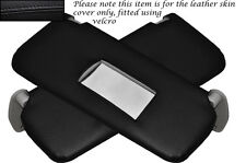 BLACK STITCHING 2X SUN VISORS LEATHER SKIN COVERS FITS FIAT PUNTO MK2 1999-2004