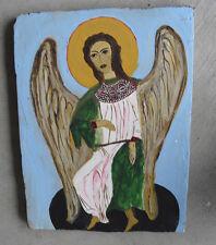 Vintage Oil Painting on Wood of Religious Angel LOOK