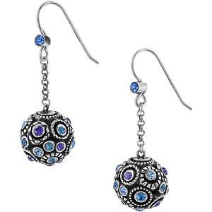 NWT Brighton HALO SPHERE Ball Tanzanite Blue Purple Crystal Earrings MSRP $68