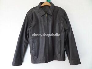 John Lewis Dark Brown Mens Leather Jacket  - Size Medium - Good Condition