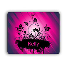 Personalized Computer Mouse Pad Flower Silhouette Design
