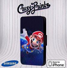 Clásicos De Nintendo Super Mario se adapta iPhone/Samsung Funda para Estuche Abatible de Cuero B117