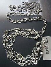 3TH CHICO'S Jewelry Glissta Chain Belt in Silver yellow Crystals ML RV$68