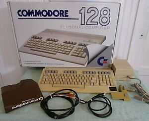 Commodore 128 Personal Computer WITH EXTRAS - BOX, COVER, DISKS  *WORKS*