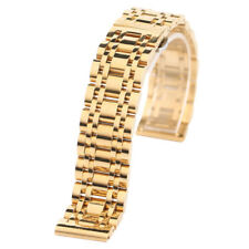 Black/Gold 20/22mm Solid Stainless Steel Watch Band Replacement +2 Spring Bars