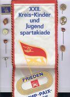 DDR Lot 10 Stücke 1x Wimpel XXII. Kreis-Kinder u. Jugend Spartakiade Sternberg..