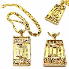 MENS ICED OUT GOLD MEEK MILL DREAM CHASERS PENDANT FRANCO CHAIN NECKLACE