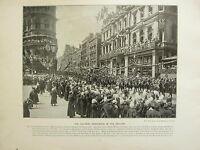 1896 Vittoriano Londra Stampa + Testo ~ The Coloniale Processione IN The Pollame