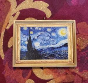 The Starry Night Van Gogh Ornament Magnet Dollhouse Mini Wall Hanging or Upright