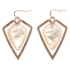 De Buman 18k Rose Gold Plated Mother-of-Pearl Bohemian Pierced Dangle Earrings