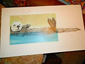 "28"" x 16"" Signed Julie Peelen Limited Ed Print 1/200 ""California Sea Otter"""