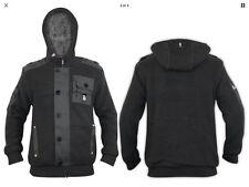 BNWT Mens Crosshatch Faux Fur Lined Knitted Hood Zipper GREY Winter Jacket SMALL