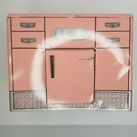 Vintage Wolverine Pink Metal Toy Kitchen Sink Damaged Missing Faucet