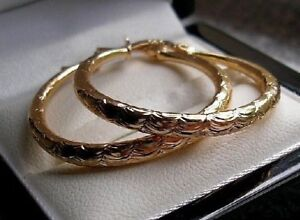 LARGE 9ct gold gf hoop earrings HIGHEST QUALITY FROM 9CT GOLD BLING 16