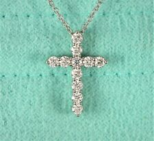 $2900 Tiffany & Co Platinum 0.42 Round Diamond Cross Pendant Chain Necklace 16.5
