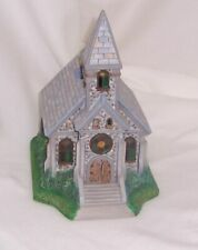 """New ListingPartyLite """"The Church"""" Olde World Village Painted Bisque Porcelain Retired"""