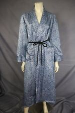 Vintage 40s Original Blue Satin Lace Illusion Robe / Dressing Gown Soft Lining M