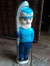 vintage metal sculpture Nordic skier, painted blue & white