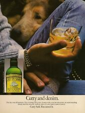1984 Cutty Sark Scotch Dog Lays Head in Man's Lap Cutty & Denim Vintage Print Ad