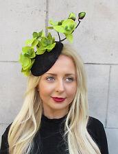 Black Green Orchid Flower Fascinator Hat Statement Headpiece Races Vtg Clip 2292