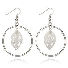 925 Silver Plated Hoop Filigree Leaf Dangle Drop Earrings Ladies Gift New UK