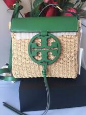 Tory Burch Miller Straw Leather Crossbody Handbag in Watercress