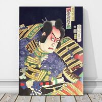 "Japanese Kabuki Pop Art from 1800's CANVAS PRINT 16x12"" Actor ~ Kunichika"