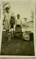 Vintage Old 1930s Photo of Poor Mother & Boy Son Moving with Suitcases Dads Gun