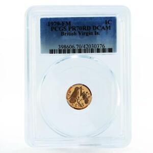 British Virgin Islands 1 cent Carib Hummingbird PR70 PCGS proof bronze coin 1979