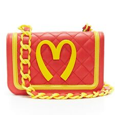 MOSCHINO Mcdonalds red quilted yellow trimmed resin chain linked shoulder bag