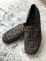 Authentic Vintage FENDI Loafers F Monogram Brown Size 36 Made in Italy Shoes