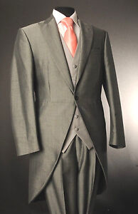 MEN'S SILVER MOHAIR TWO PIECE FORMAL TAILS SUIT ASCOT/WEDDING/TAILCOAT MJ-203