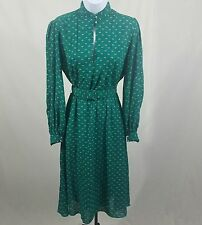 Vintage Retro Green Patterned Chiffon Belted Dress B37