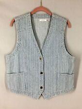 Christopher & Banks Vintage Denim Vest 3 Button Front 2 Pockets Western Size M