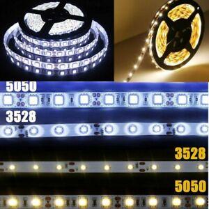 12V White 1M 2M 3M 5M 10M LED Strip Rope Light Tape 3528 5050 Cabinet Lighting