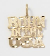 14k Yellow Gold Diamond Cut Born In The USA Charm Necklace Pendant