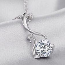 Silberkette mit Schwan Anhänger 925 Sterling Silber Strass Halskette Damen P167