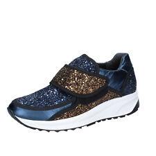 0b845c7dc8e1 scarpe donna LIU JO 35 EU sneakers blu bronzo glitter BS607-35