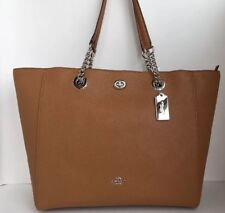 COACH 56830 Turn lock Chain Tote 27 Polished Pebble Leather Silver/Light Saddle