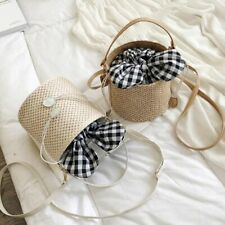 Mini Straw Bucket Handbag Women Crossbody Shoulder Bag Messenger Travel Purses