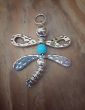 Handmade Medium Dragonfly Pendant With Turquoise Bead